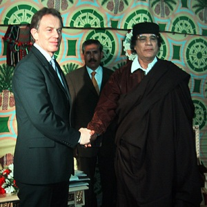 Tony Blair meeting Muammar Gaddafi in 2004