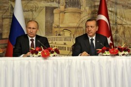 Photo: the Presidential Press and Information Office: President Putin and PM Erdogan at news conference following recent meeting of High-Level Russian-Turkish Cooperation Council.
