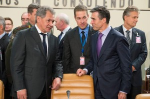 Left to right: Sergey Shoygu (Minister of Defence, Russian Federation) with NATO Secretary General Anders Fogh Rasmussen