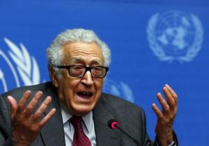 File photo of UN-Arab League envoy for Syria Brahimi addressing a news conference at the United Nations European headquarters in Geneva
