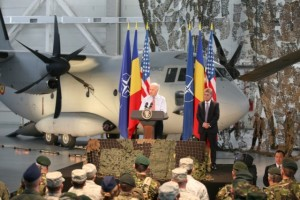 Joe Biden (center) speech in front of military of Air Base Otopeni. Romanian Minister of Defence, Mircea Dusha.